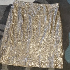 WHBM Gold Sequins Skirt